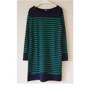 Muji green/blue striped dress with pockets